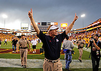 Nov. 28, 2009; Tempe, AZ, USA; Arizona Wildcats head coach Mike Stoops celebrates following the game against the Arizona State Sun Devils at Sun Devil Stadium. Arizona defeated Arizona State 20-17. Mandatory Credit: Mark J. Rebilas-
