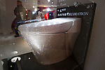 """Dec 14, 2011, Tokyo, Japan - Housing and building material manufacturer Lixil Corp. showcases the company's Inax brand toilet """"Statis"""" covered in 72,000 Swarovski crystals valued approximately at $128,000 USD. Lixil showroom manager Kazuo Sumimiya said he hopes this heavily decorated one of a kind toilet will draw more tourists to Japan. The toilet will remain on display at Lixil's company showroom in Tokyo until December 28. (Photo by Christopher Jue/AFLO)"""