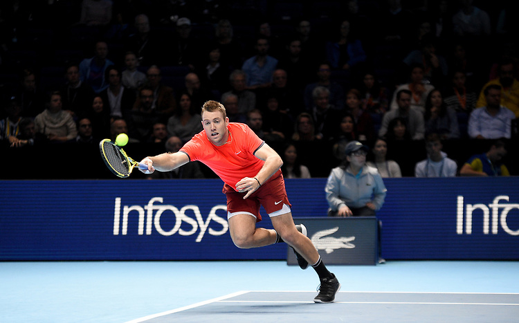 Jack Sock in action with his partner Mike Bryan in their semi final match against  Jamie Murray and Bruno Soares <br /> <br /> Photographer Hannah Fountain/CameraSport<br /> <br /> International Tennis - Nitto ATP World Tour Finals Day 7 - O2 Arena - London - Saturday 17th November 2018<br /> <br /> World Copyright © 2018 CameraSport. All rights reserved. 43 Linden Ave. Countesthorpe. Leicester. England. LE8 5PG - Tel: +44 (0) 116 277 4147 - admin@camerasport.com - www.camerasport.com