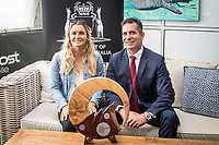 Margaret River, Western Australia    (Tuesday, April 10, 2018) WA Minister for Tourism Paul Papalia with local world tour surfer Bronte MacAulay (AUS) - The Margaret River Pro, Stop No. 3 on the World Surf League (WSL) Championship Tour (CT) is only one day away.<br /> Surfers, politicians and dignitaries attended a press session this morning at the contest site to kick off this year's event. Current ratings leaders Italo Ferreira (BRA) and Stephanie Gilmore (AUS), current World Champion John John Florence (HAW) and WA Minister for Tourism Paul Papalia were in attendance. Photo: joliphotos.com