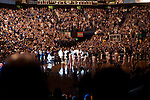 Fireworks explode in the rafters during player introductions at the start of UK's game against Camblesville on Nov. 2, 2009 in Rupp Arena.