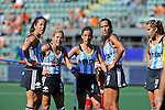 The Hague, Netherlands, June 08: During the field hockey group match (Women - Group B) between England and Argentina on June 8, 2014 during the World Cup 2014 at Kyocera Stadium in The Hague, Netherlands. Final score 1-2 (1-1)  (Photo by Dirk Markgraf / www.265-images.com) *** Local caption *** Silvina D Elia #25 of Argentina, Macarena Rodriguez Perez #5 of Argentina, Rosario Luchetti #4 of Argentina, Maria Josefina Sruoga #30 of Argentina, Daniela Sruoga #18 of Argentina