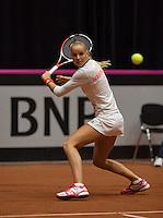 The Netherlands, Den Bosch, 16.04.2014. Fed Cup Netherlands-Japan, Arantxa Rus (NED)<br /> Photo:Tennisimages/Henk Koster