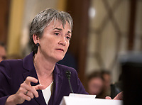 United States Secretary of the Air Force Heather Wilson gives testimony before the US Senate Committee on Armed Services Subcommittee on Readiness and Management Support during a hearing titled &quot;US Air Force Readiness&quot; on Capitol Hill in Washington, DC on Wednesday, October 10, 2018.<br /> CAP/MPI/RS<br /> &copy;RS/MPI/Capital Pictures