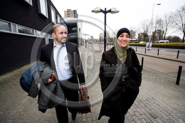 AMSTERDAM - NETHERLANDS - 06 MARCH 2008 -- Ahmed MARCOUCH, mayor of the Amsterdam district of Slotervaart and the first muslim mayor in the Netherlands, with his adviser. Photo: Erik Luntang/EUP-IMAGES