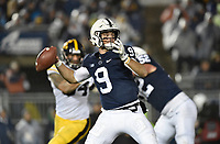 STATE COLLEGE, PA - OCTOBER 27: Penn State QB Trace McSorley (9) throws from the pocket. The Penn State Nittany Lions defeated the Iowa Hawkeyes 30-24 on October 27, 2018 at Beaver Stadium in State College, PA. (Photo by Randy Litzinger/Icon Sportswire)
