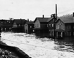 A view of a flooded South Main Street in Waterbury.