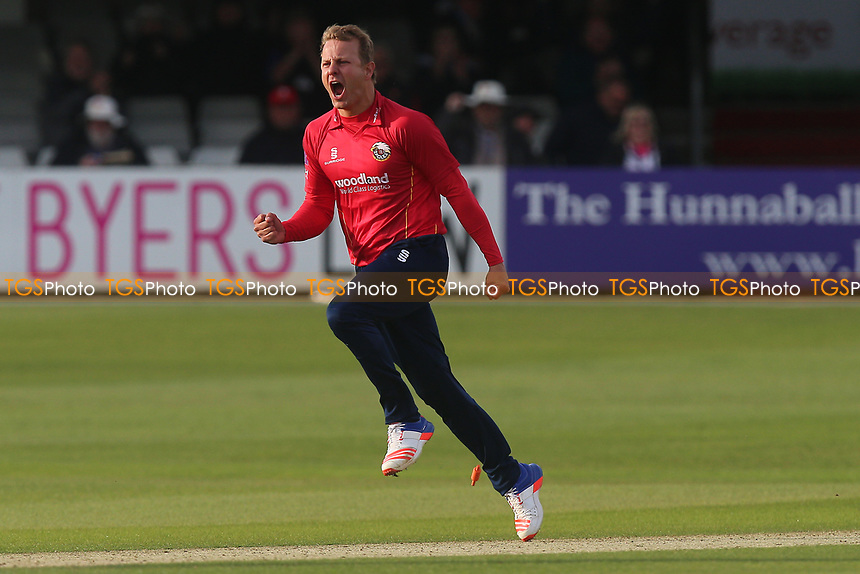 Neil Wagner of Essex celebrates taking the wicket of Mason Crane to win the match during Essex Eagles vs Hampshire, Royal London One-Day Cup Cricket at The Cloudfm County Ground on 30th April 2017
