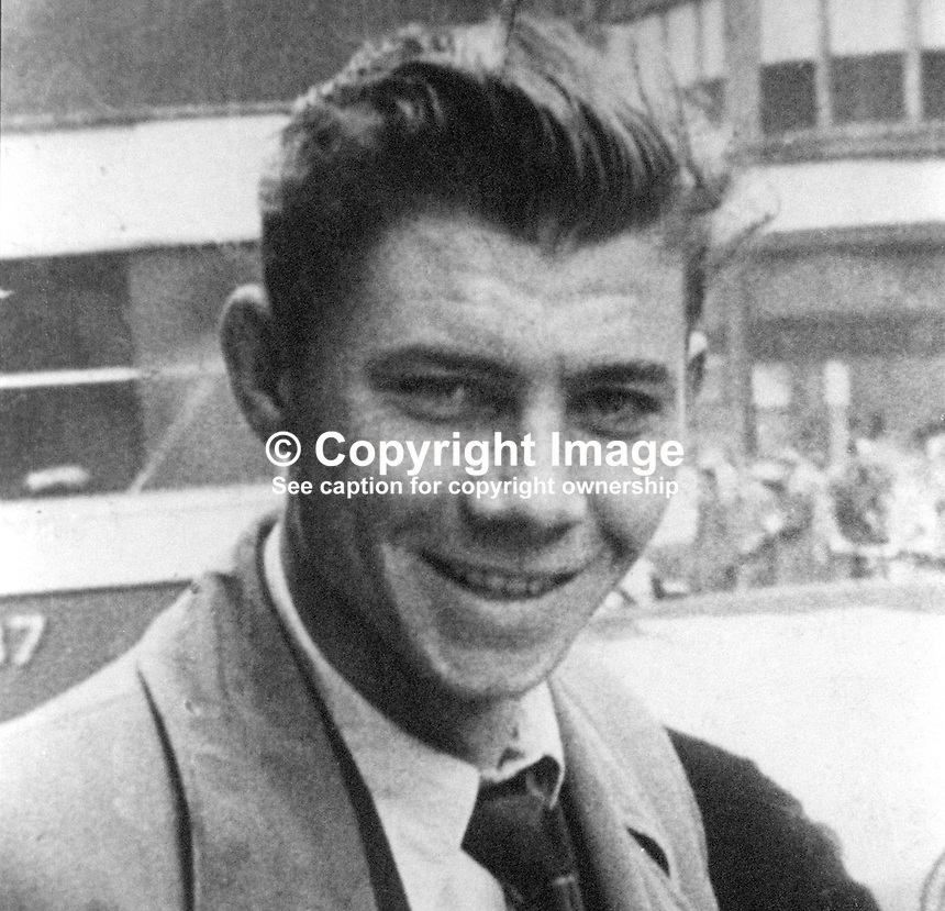 James Reid, 47 years, Roman Catholic, married, 10 children, from Upper Meadow Street, Belfast, N Ireland, who died, 17th January, 1976, in UVF no warning bomb thrown into the Sheridan Bar, New Lodge Road, Belfast. A woman customer, Sarah O'Dwyer also died in the blast. 197601180046<br /> <br /> Copyright Image from Victor Patterson, 54 Dorchester Park, Belfast, UK, BT9 6RJ<br /> <br /> Tel: +44 28 9066 1296<br /> Mob: +44 7802 353836<br /> Voicemail +44 20 8816 7153<br /> Email: victorpatterson@me.com<br /> <br /> <br /> IMPORTANT: If you wish to use this image or any other of my images please go to www.victorpatterson.com and click on the Terms &amp; Conditions. Then contact me by email or phone with the reference number(s) of the image(s) concerned.