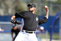Toronto Blue Jays Brett Cecil #27 during a Spring Training game vs the Detroit Tigers at Florida Auto Exchange Stadium in Dunedin, Florida;  February 26, 2011.  Detroit defeated Toronto 4-0.  Photo By Mike Janes/Four Seam Images