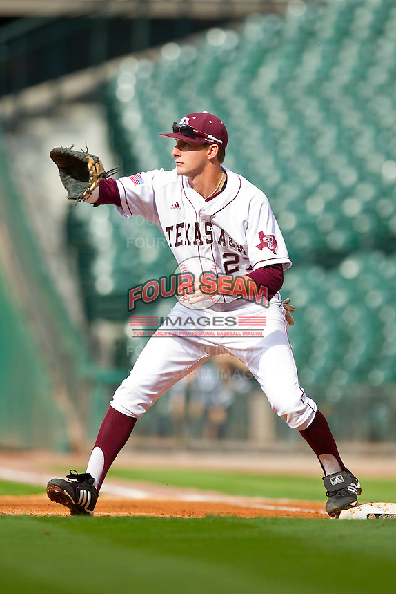 First baseman Jacob House #27 of the Texas A&M Aggies waits for a tjrow against the Utah Utes at Minute Maid Park on March 4, 2011 in Houston, Texas.  Photo by Brian Westerholt / Four Seam Images