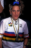 Missy Giove wearing world champions jersey and medal .World Championships , Vail colorado , 1994.pic copyright Steve Behr / Stockfile