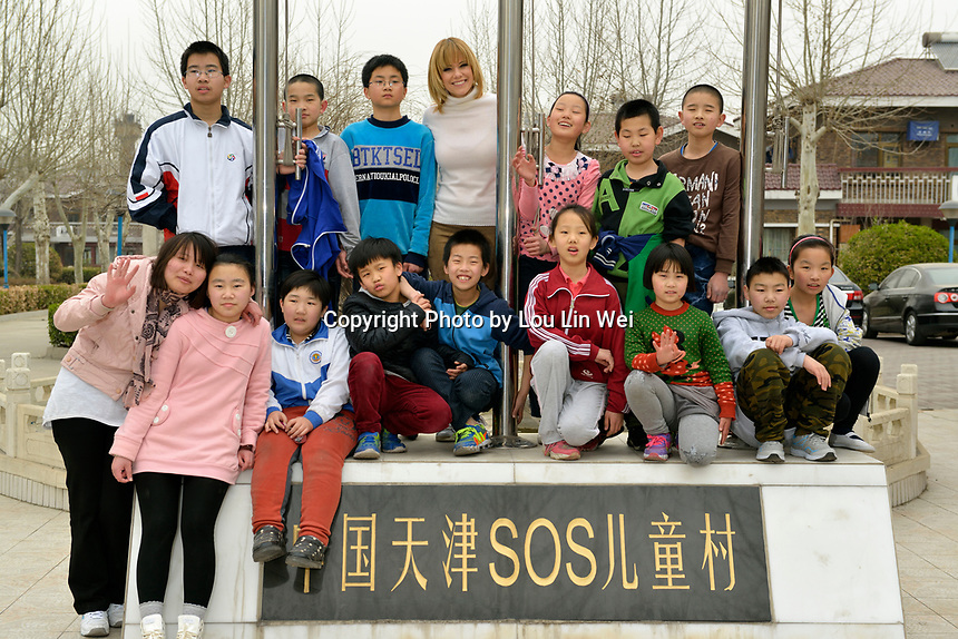 "Swiss singer and TV presenter Francine Jordi visiting ""SOS Kinderdorf"" in Tianjin, China. 22-Mar-2016"
