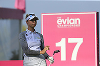 Nelly Korda (USA) tees off the 17th tee during Thursday's Round 1 of The Evian Championship 2018, held at the Evian Resort Golf Club, Evian-les-Bains, France. 13th September 2018.<br /> Picture: Eoin Clarke | Golffile<br /> <br /> <br /> All photos usage must carry mandatory copyright credit (&copy; Golffile | Eoin Clarke)