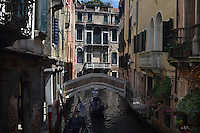 Michael McCollum.6/10/11.Gondolas navigate the smaller canals in Venice, Italy.