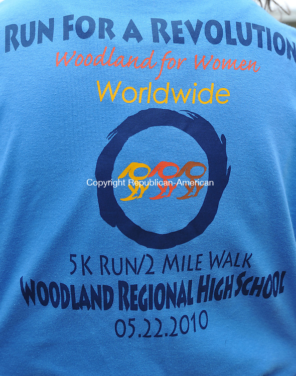 BEACON FALLS, CT- 16 April 2010 - 041610IP03-  This is the back of a t-shirt advertising Woodland for Women Worldwide at Woodland Regional High School in Beacon Falls. They are sponsoring a 5K run/2 mile walk on May 22 called Run for a Revolution.<br /> Irena Pastorello Republican-American