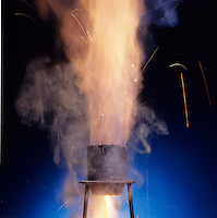 THERMITE PROCESS: REDUCTION OF Fe2O BY ALUMINUM<br /> (Variations Available)<br /> Exothermic Reaction Produces Molten Iron<br /> Produces small quantities of molten iron for special purposes like the repair of railway lines. Aluminum is reactive enough to reduce less reactive metal oxides to the metal. Strongly exothermic reaction started by adding glycerine to the mix w/KMNO4.