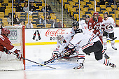 Colin Blackwell (Harvard - 63), Clay Witt (Northeastern - 31), Anthony Bitetto (Northeastern - 7), Eric Kroshus (Harvard - 10) - The Harvard University Crimson defeated the Northeastern University Huskies 3-2 in the 2012 Beanpot consolation game on Monday, February 13, 2012, at TD Garden in Boston, Massachusetts.