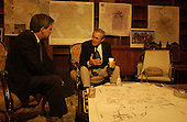 United States Secretary of Defense Donald H. Rumsfeld is briefed by Administrator of the Coalition Provisional Authority of Iraq Paul Bremer in Iraq on September 4, 2003.                                <br /> Mandatory Credit: Andy Dunaway / DoD via CNP