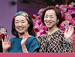 September 14, 2016, Tokyo, Japan - Japanese actresses Nobuko Miyamoto (L) and Mieko Harada (R) smile at a promotional event of Japanese cosmetics giant Shiseido's Prior brand which is targeting over 50 senior women in Tokyo on Wednesday, September 14, 2016. Shiseido will have promotional events of Prior brand across Japan while Japan's Respect for the Aged Day will be coming next week.    (Photo by Yoshio Tsunoda/AFLO) LWX -ytd-