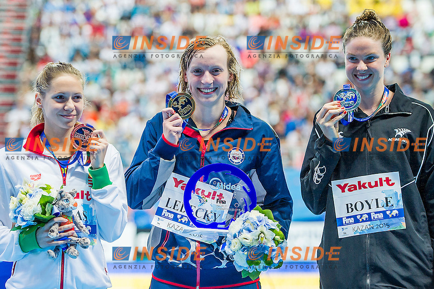 Podium<br /> 1500 Freestyle Women Final<br /> Swimming - Kazan Arena<br /> Day12 04/08/2015<br /> XVI FINA World Championships Aquatics Swimming<br /> Kazan Tatarstan RUS July 24 - Aug. 9 2015 <br /> Photo A.Masini/Deepbluemedia/Insidefoto