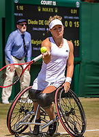 London, England, 11 July, 2019, Tennis,  Wimbledon, Ladies Wheelchair single: Diede de Groot (NED)<br /> Photo: Henk Koster/tennisimages.com