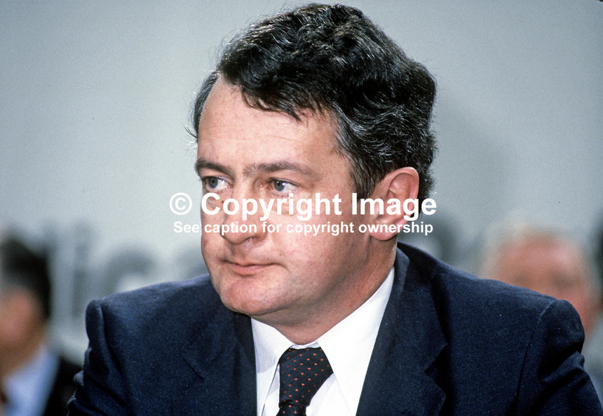 Des O'Malley, TD, Minister for Industry, Rep of Ireland, on platform at Fianna Fail Ard Fheis. 198102000026DOM1.<br />
