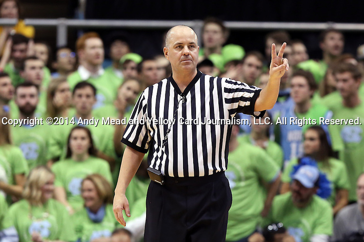 03 December 2014: Referee Brian Dorsey. The University of North Carolina Tar Heels played the University of Iowa Hawkeyes in an NCAA Division I Men's basketball game at the Dean E. Smith Center in Chapel Hill, North Carolina. Iowa won the game 60-55.