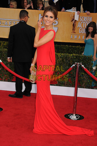 Maria Menounos.Arrivals at the 19th Annual Screen Actors Guild Awards at the Shrine Auditorium in Los Angeles, California, USA..27th January 2013.SAG SAGs full length red dress gold clutch bag side train  hand arm.CAP/ADM/BP.©Byron Purvis/AdMedia/Capital Pictures