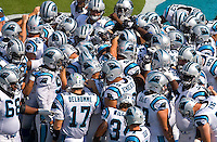 Carolina Panthers huddle before taking the field Kansas City Chiefs during a NFL football game at Bank of America Stadium in Charlotte, NC.