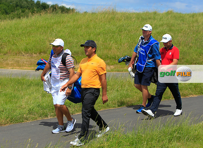 Andy Sullivan (ENG) and Francesco Molinari (ITA) walking off the 9th tee during Round 3 of the 100th Open de France, played at Le Golf National, Guyancourt, Paris, France. 02/07/2016. <br /> Picture: Thos Caffrey | Golffile<br /> <br /> All photos usage must carry mandatory copyright credit   (&copy; Golffile | Thos Caffrey)