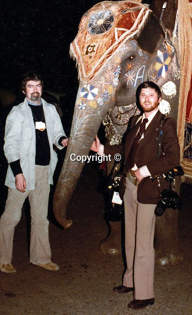 Chick Harrity AP Ron Bennett UPI with elephant India, Chick Harrity and Ron Bennett with Elephant in India, White House Photographers on Presidential trip,