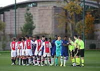 Ajax U19's and Chelsea U19's shake hands ahead of kick-off during Chelsea Under-19 vs AFC Ajax Under-19, UEFA Youth League Football at the Cobham Training Ground on 5th November 2019