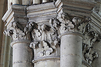 Stone carved capitals with trefoil leaves in the nave of the Basilique Cathedrale Notre-Dame d'Amiens or Cathedral Basilica of Our Lady of Amiens, built 1220-70 in Gothic style, Amiens, Picardy, France. Amiens Cathedral was listed as a UNESCO World Heritage Site in 1981. Picture by Manuel Cohen