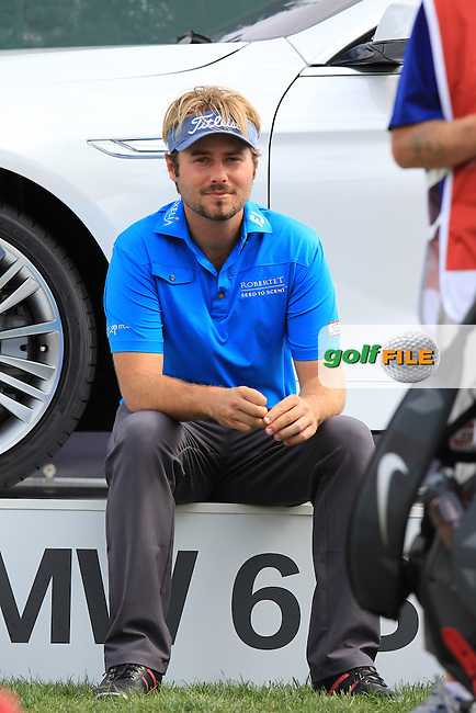 Victor Dubuisson (FRA) waits on the 11th tee during Saturday's Round 3 of the 2013 Omega European Masters held at Crans Montana Golf Club, Crans-Sur-Sierre Switzerland. 7th September 2013.<br /> Picture: Eoin Clarke www.golffile.ie