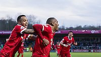 Calaum Jahraldo-Martin of Leyton Orient congratulates goal scorer Jay Simpson of Leyton Orient during the Sky Bet League 2 match between Wycombe Wanderers and Leyton Orient at Adams Park, High Wycombe, England on 23 January 2016. Photo by Massimo Martino / PRiME Media Images.