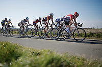Kris Boeckmans (BEL/Lotto-Soudal) leading the race<br /> <br /> 3 Days of West-Flanders 2015<br /> stage 2: Nieuwpoort - Ichtegem 184km