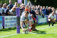 Jack Wilson of Bath Rugby scores a try in the corner. Pre-season friendly match, between Bristol Rugby and Bath Rugby on August 12, 2017 at the Cribbs Causeway Ground in Bristol, England. Photo by: Patrick Khachfe / Onside Images
