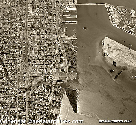 historical aerial photograph Miami, Florida 1961