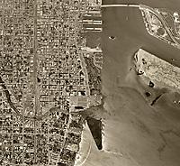 historical aerial photograph Miami, Florida 1961