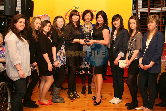 Overall Winners from Art Village, Termonfeckin, Jocelyn McCloskey, Mary Fanning, Christina Dillon, Andrea Kelly, Yvonne Gardiner, Ursula Campbell, Hannah Greene, Katie Flynn and Olivia Campbell at the St Patricks Day Parade Presentation in The Gary Kelly Centre...Photo NEWSFILE/Jenny Matthews.(Photo credit should read Jenny Matthews/NEWSFILE)....This Picture has been sent you under the condtions enclosed by:.Newsfile Ltd..The Studio,.Millmount Abbey,.Drogheda,.Co Meath..Ireland..Tel: +353(0)41-9871240.Fax: +353(0)41-9871260.GSM: +353(0)86-2500958.email: pictures@newsfile.ie.www.newsfile.ie.FTP: 193.120.102.198.
