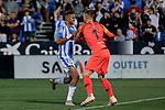 CD Leganes's Youssef En-Nesyri and FC Barcelona's Ter Stegen during La Liga match between CD Leganes and FC Barcelona at Butarque Stadium in Madrid, Spain. September 26, 2018. (ALTERPHOTOS/A. Perez Meca)