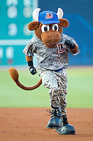 "Durham Bulls mascot ""Wool E. Bull"" runs the bases between innings of the International League game between the Lehigh Valley IronPigs and the Durham Bulls at Durham Bulls Athletic Park June 26, 2010, in Durham, North Carolina.  Photo by Brian Westerholt / Four Seam Images"
