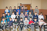 PRESENTATION: Sean O'Hal[pi?n who presented medals to St Brendan's Hurlers Under 12s and 13th at a special ceremony in St Brendan's Community Hall on Friday night.................................. ....