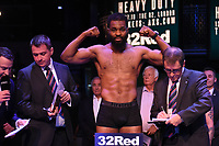 Jonathan Palata on the scales during a Weigh In at the BT Studios, Queen Elizabeth Olympic Park on 12th July 2019