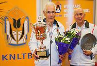 August 22, 2014, Netherlands, Amstelveen, De Kegel, National Veterans Championships, Final men 80+: Winner Wim Heeremans (L) runner up Nico van Cauter<br /> Photo: Tennisimages/Henk Koster