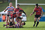 Haani Halaeua tries to get the pass away to DJ Forbes as he is taken to ground. Air New Zealand Air NZ Cup warm-up rugby game between the Counties Manukau Steelers & Tasman Mako's, played at Growers Stadium Pukekohe on Sunday July 20th 2008..Counties Manukau won the match 30 - 7.