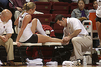 28 October 2005: A trainer tends to Kristin Richards during Stanford's 3-0 win over Oregon State in Stanford, CA.