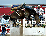 Craig Wisehart scores a 75 point bareback bronc ride on a Southwick Rodeo Company Bronc to win the Southeast Weld County CPRA Rodeo on August 12, 2006 in Keenesburg, Colorado.