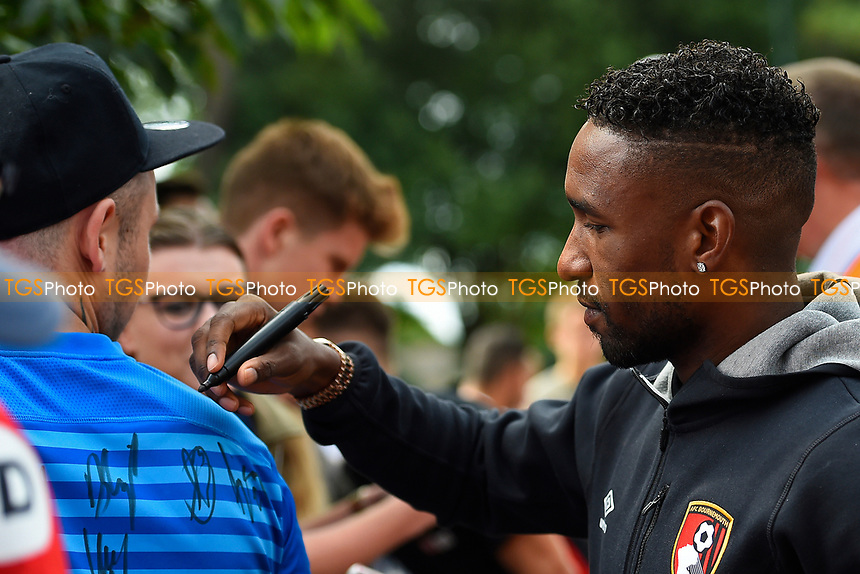 Jermain Defoe of AFC Bournemouth signs a fans shirt during AFC Bournemouth vs Valencia CF, Friendly Match Football at the Vitality Stadium on 30th July 2017